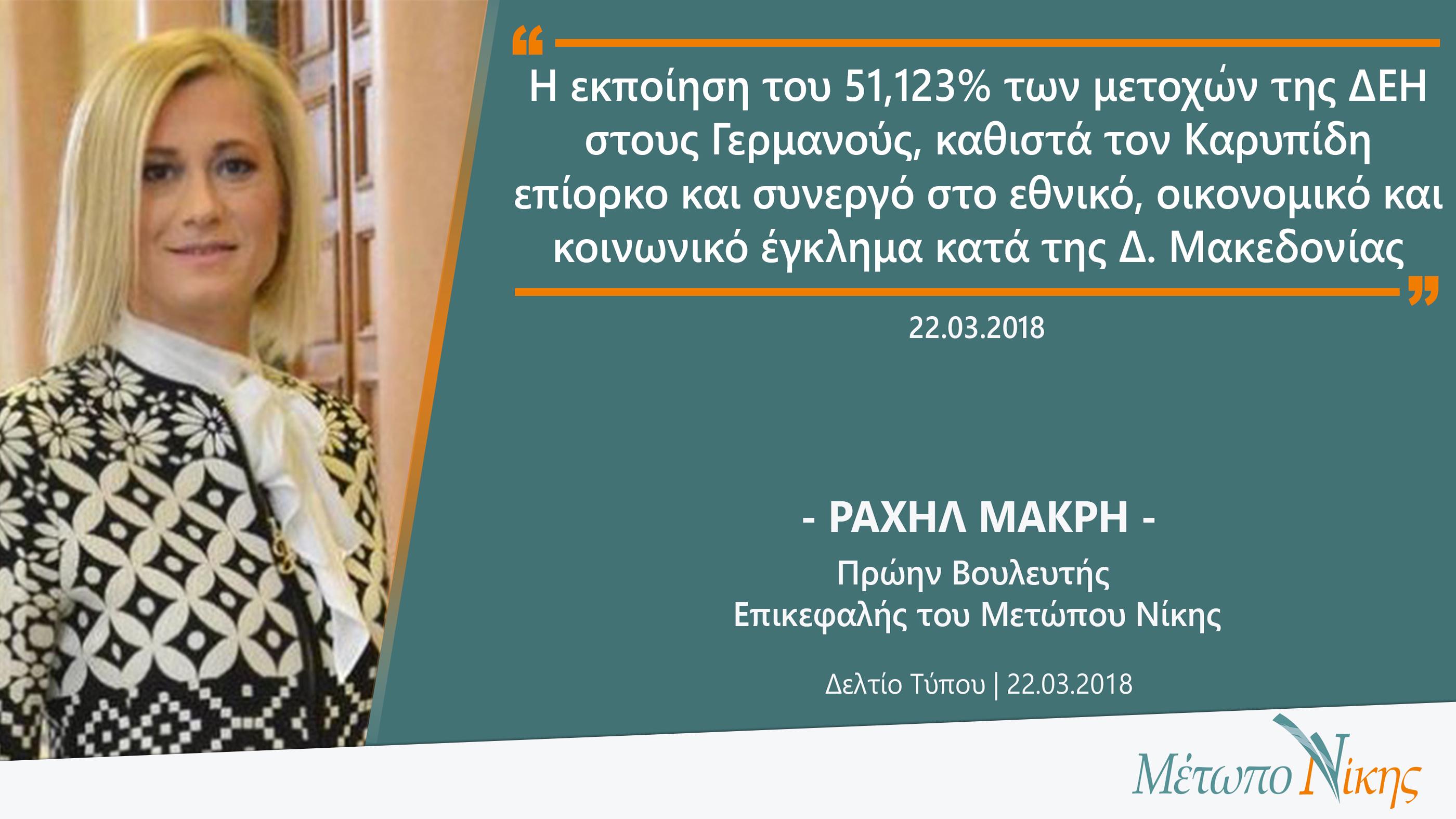 Ραχήλ Μακρή: «Η εκποίηση του 51,123% των μετοχών της ΔΕΗ στους Γερμανούς, καθιστά τον Καρυπίδη επίορκο και συνεργό στο εθνικό έγκλημα κατά της Δ. Μακεδονίας»