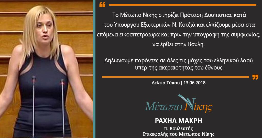 Το Μέτωπο Νίκης στηρίζει Πρόταση Μομφής κατά του Ν. Κοτζιά για την Μακεδονία